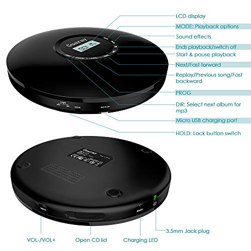 Portable CD Player 1400mAh CD Walkman Rechargeable CD Player Portable Gueray CD Discman Personal CD Player with Headphones Jack USB Supply CD Music Disc with LCD Display (Black) by Gueray (Image #4)