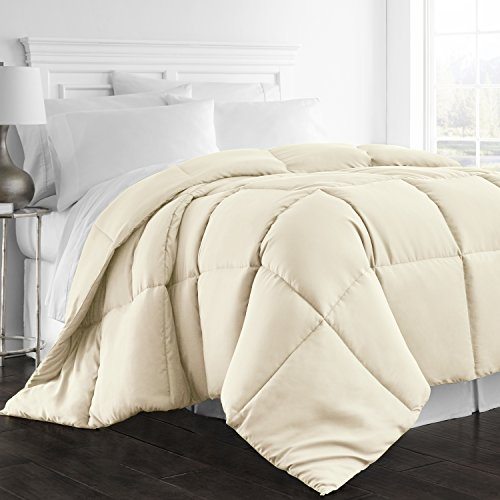 Beckham Hotel Collection 1300 Series - All Season - Luxury Goose Down Alternative Comforter - Hypoallergenic  - Full/Queen - Ivory