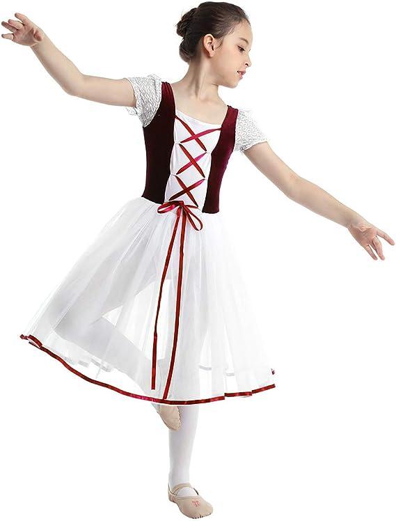 inhzoy Vestido de Danza Clásica para Niña Maillot Ballet con Falda ...