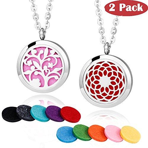 2 Pieces Fragrance Aromatherapy Essential Oil Prume Diffuser Necklace Locket Pendant Outfitters with 24 Inch Chain-Tree of Floral & Sunflower Set