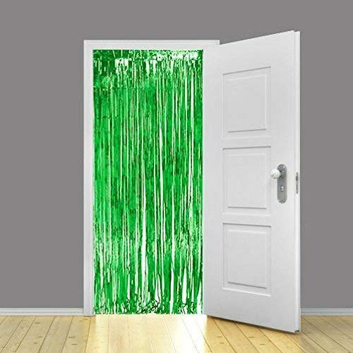 ZagGit Set of 2 Metallic Green Foil Fringe Party Decoration Door Curtains, 3 x 8 Feet