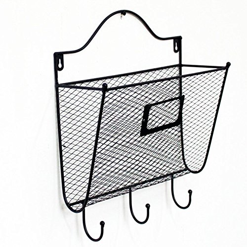 Crazyworldstore Envelope Style Metal Hanging Wall File Organizer Key Letter Holder Wall Mount Wire Rack Hanger Organizer Storage Black (3#)