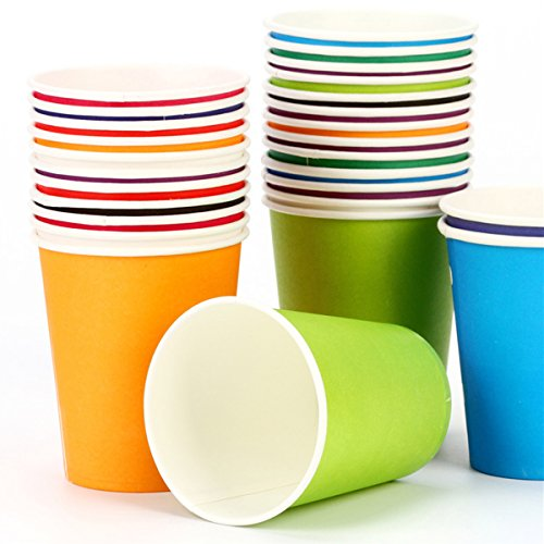 Holiday Party Disposable Cups, Paper Cups For DIY (Assorted Colors,9 Ounce, 100 Count)