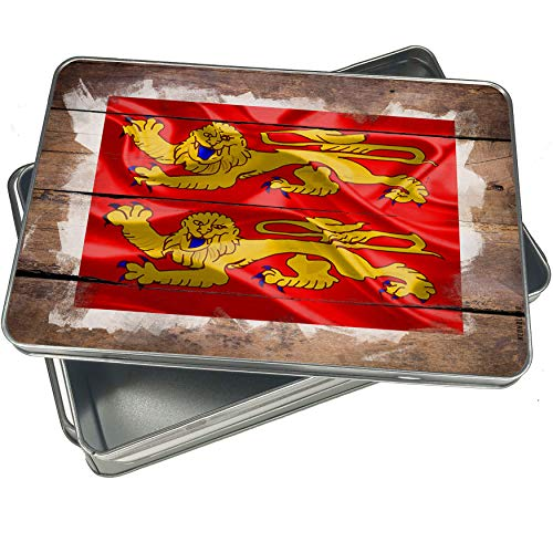 NEONBLOND Cookie Box Basse-Normandie 3D Flag region: France Christmas Metal Container