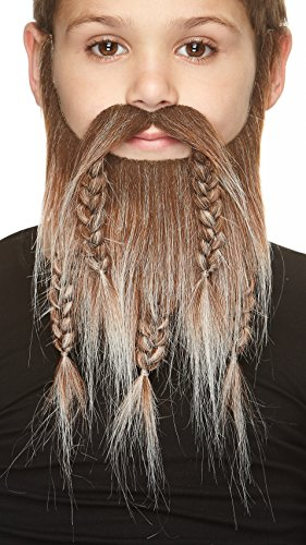 Mustaches Fake Beard, Self Adhesive, Novelty, Small Viking Dwarf False Facial Hair, Costume Accessory for Kids, Brown with Gray -