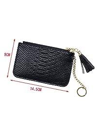 ThinkMax Cute Lady Mini Wallets Women Tassel Pendant Money Wallet Ladies PU Leather Zipper Coin Purse
