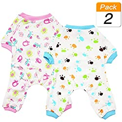 Scheppend 2-Pack Pet Clothes Puppy Cute Pajamas Dogs Cotton Rompers Cats Jumpsuits Cosy Apparel Dog Shirt Small Canine Costumes Corsetry, Redhorse & Paw XS