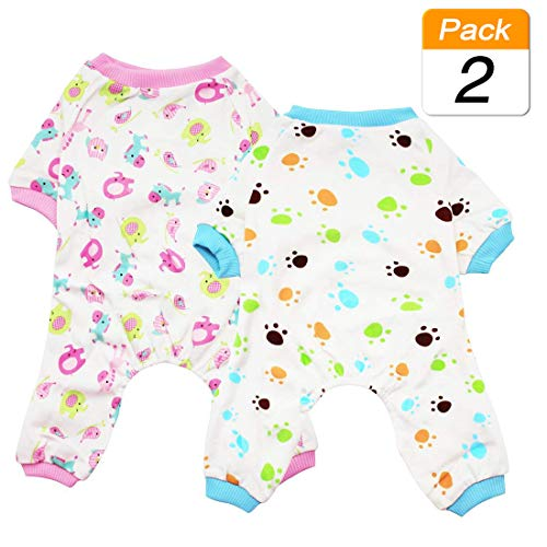 Scheppend 2-Pack Pet Clothes Puppy Cute Pajamas Dogs Cotton Rompers Cats Jumpsuits Cosy Apparel Dog Shirt Small Canine Costumes Corsetry, Redhorse & Paw XS (Tzu Paw Prints Shih)
