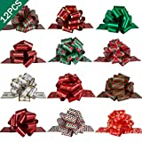 """PintreeLand 12PCS Christmas Gift Wrap Pull Bows with Ribbon 5"""" Wide Wrapping Accessory for Xmas Present, Gift, Florist, Bouquet, Basket Decoration, Easy to Assemble: more info"""