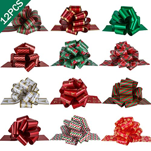 PintreeLand 12PCS Christmas Gift Wrap Pull Bows with Ribbon 5quot Wide Wrapping Accessory for Xmas Present Gift Florist Bouquet Basket Decoration Easy to Assemble