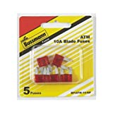 Bussmann ATM-10 ATM Automotive Blade Fuse - 10 Amp, 5 Pack (Tin)
