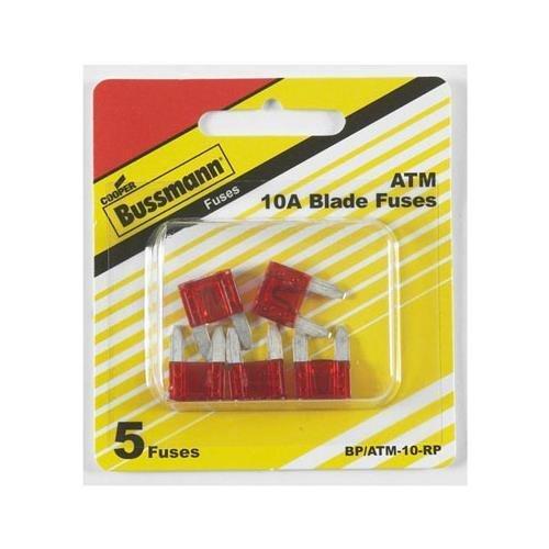 Amp Atm Fuses - Bussman BP/ATM-10 RP 10 Amp Mini Fuses 5 Count