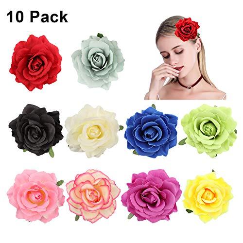 (10 Pack Rose Flower Hairpins, Messar Big Rose Flower Hair Clips Flower Brooch Pins Flower Petal Hair Barrettes Alligator Clips DIY Flower Headwear Accessories for Woman Girl Bridal (Set 2))