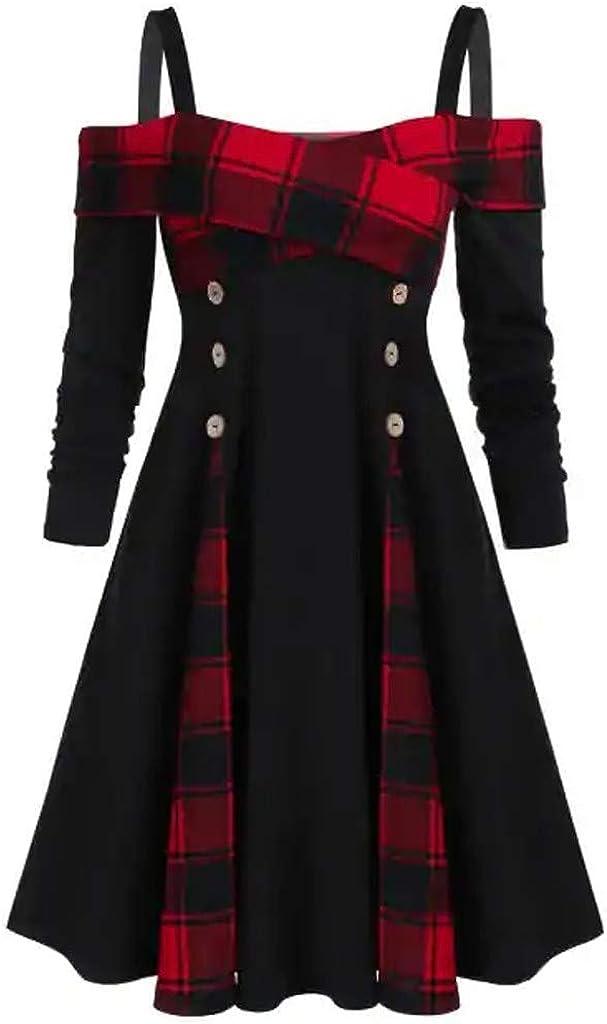 aihihe Womens Retro 1950S Vintage Dresses Plaid Checkered Dress ...