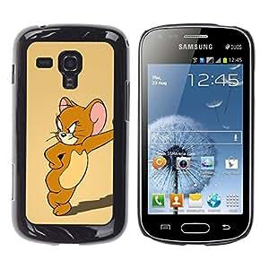 A-type Arte & diseño plástico duro Fundas Cover Cubre Hard Case Cover para Samsung Galaxy S Duos S7562 (Jerry ratón de dibujos animados)