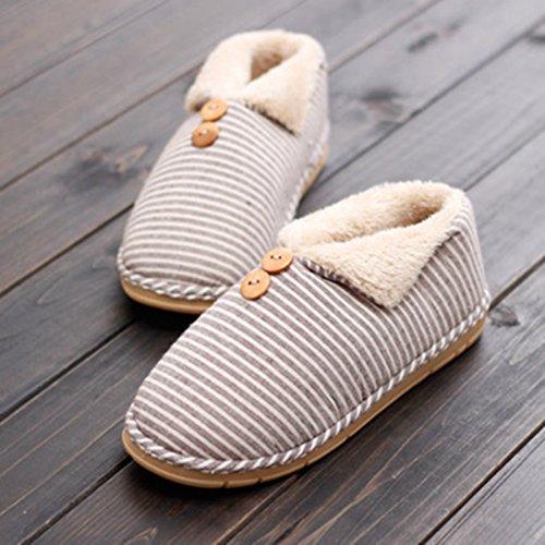 Y-Hui femmina Scarpe invernali dentro e fuori la camera di un paio di pantofole di cotone caldo spessa spessa estremità inferiore Home Arredo Pattini di slittamento uomini,36-37 (Fit per 35-36 piedi),