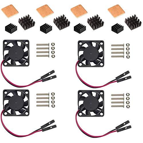 Easycargo Raspberry Pi Heatsink Fan Kit for Cooling Cooler Raspberry Pi 4, 3B+, 3B, Pi 2, Pi Model B+ (Black 4 Pack)