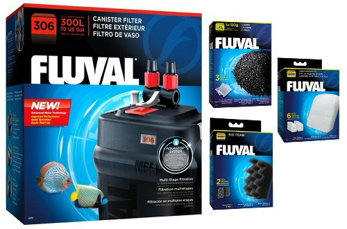 Fluval 306 A212 Canister Filter w/Bio-Foam, Carbon & Polishing Pads by Fluval