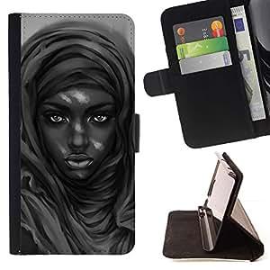 Momo Phone Case / Flip Funda de Cuero Case Cover - Belleza negro;;;;;;;; - Samsung Galaxy S6 EDGE