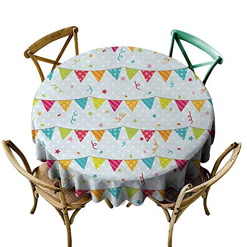 (Zmlove Birthday Restaurant Tablecloth Colorful Pretty Triangular Party Flags on The Ropes Swirls and Stars Kids Design Picnic Multicolor (Round - 51