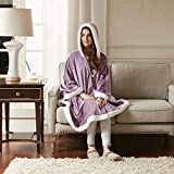 Comfort Spaces Glimmersoft Plush to Sherpa Pocket Hooded Angel Wrap Ultra Soft Wearable Poncho Blanket Throw, 58'x72', Lavender