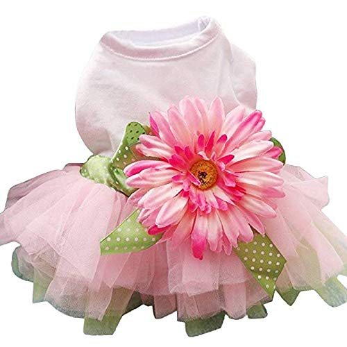 Dog Dress,Daisy Flower Gauze Tutu Dress, Pet Dog Bowknot Princess Clothes Pet for Small Medium Dogs Cats (As Shown, - Gauze Cashmere