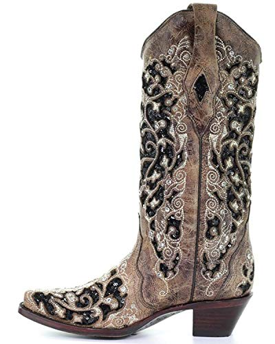 Toe Western CORRAL Floral Boot Brown Women's A3569 Snip Embroidered PP6xUnq