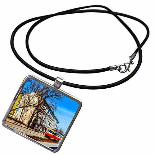 3dRose Alexis Photo-Art - Moscow City - Old building and red tramway on Moscow street in spring - Necklace With Rectangle Pendant (ncl_272056_1) Square Tramway