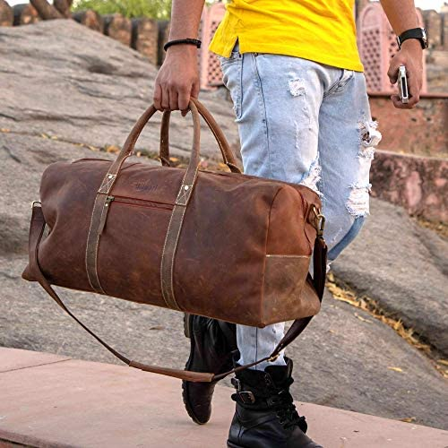 """Duffel Bag Genuine Full Grain Leather Travel 22"""" bag, Classy, Large Overnight Traveler Carry-on Luggage Duffle, Ideal for Gym, Sports, Vacation, Holiday, Weekend, Christmas Gift for Men, Women"""