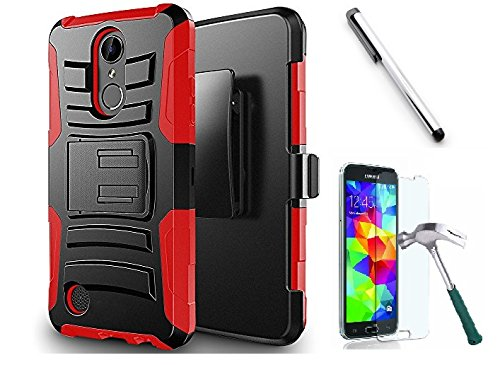 the latest af834 0fedf Luckiefind Case Compatible With Motorola Moto E5 Play/Moto E5 Cruise, Dual  Layer Hybrid Side Kickstand Cover Case With Holster Clip, Tempered Glass ...