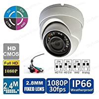 DiySecurityCameraWorld-Analog-960H/HD-(CVI+TVI)/AHD (4-IN-1) 1080P/2.4MP Small Eyeball Dome 2.8mm 18IR-LED@ 65ft ICR IP66 White, BNC ouput