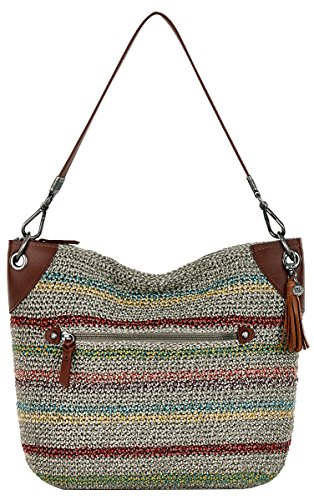 Crochet Hobo Bag - The Sak Womens Indio Crochet Hobo Bag, Woodland Stripe, One Size