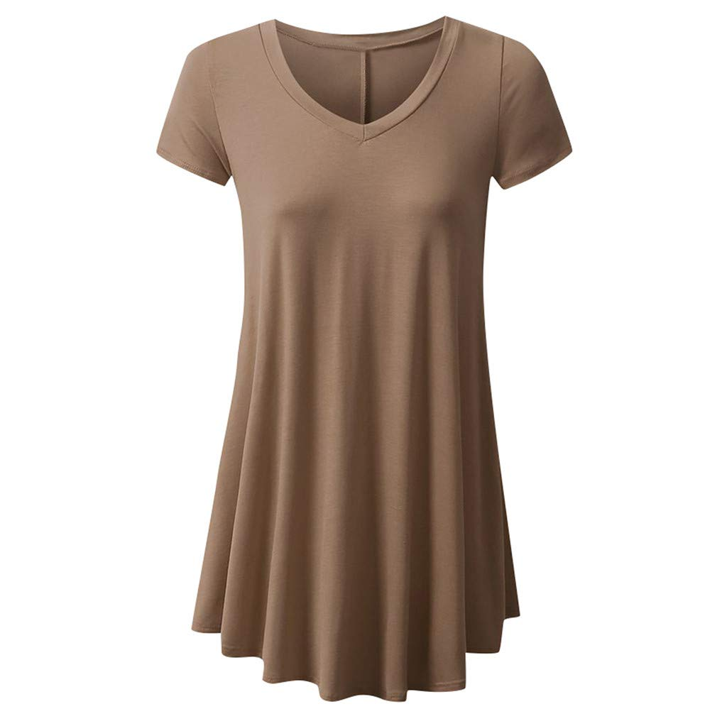 Meikosks Ladies Flowy Tops V Neck Short Sleeve T Shirt Solid Color Blouses Basic Pullover Wine
