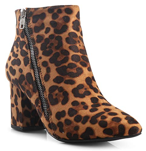 LUSTHAVE Womens Cinco Zipper Pointy Toe Chunky Heel Ankle Bootie Boots