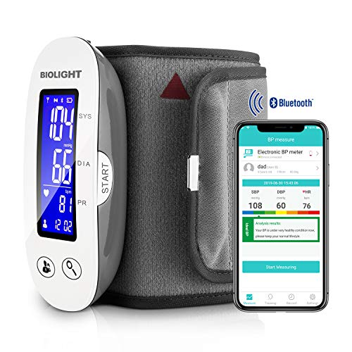 Bluetooth Blood Pressure Monitor with Upper Arm Cuff, with Large Display, Digital sphygmomanometer (Apple iOS and Android) ...