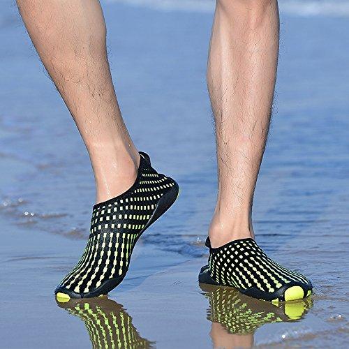 Rutschfeste mit Schnell BIGU Aquaschuhe Barfuß Kinder Badeschuhe Neoprenschuhe Yoga Unisex Wasserschuhe Schwimmschuhe Damen Gelb Schuhe Surfschuhe Trocknend Strandschuhe Herren Sohlen O7WnOra