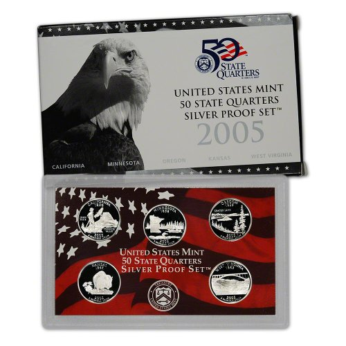 2005 S US Mint Quarters Silver Proof Set OGP (State Quarter Silver 50)