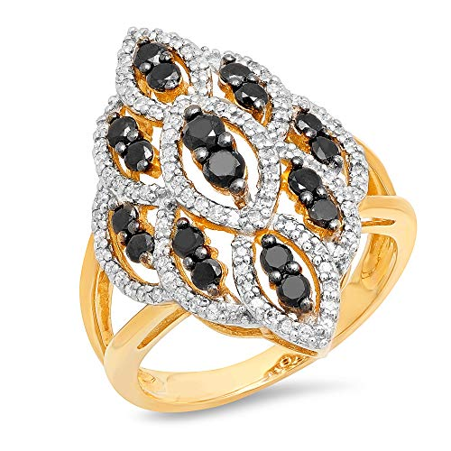 Diamond Gold Cocktail Ring - Solid 10k Yellow Gold Cocktail Ring with Genuine White and Black Diamonds (0.85 CARAT T.W.), Size 7