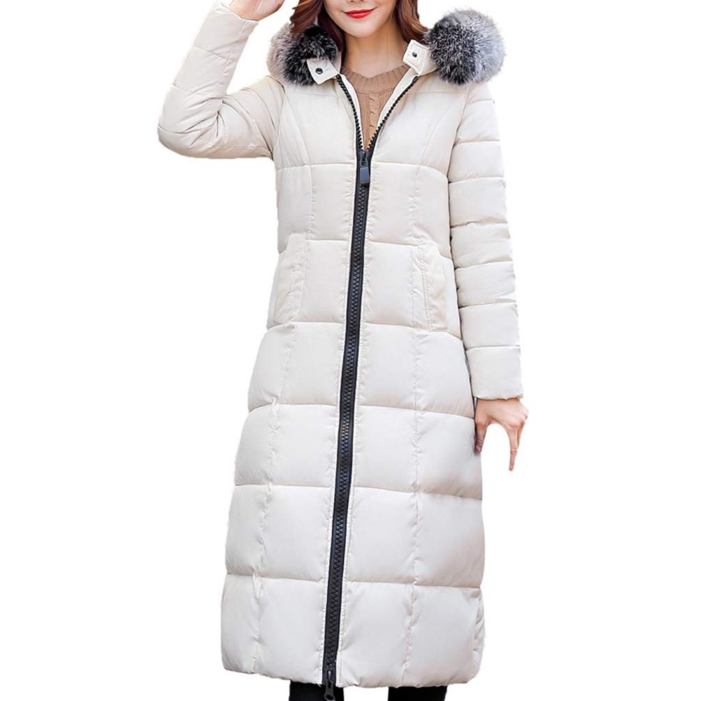 f248155e85f Amazon.com  GONKOMA Women s Winter Long Coat Fur Hooded Overcoat Parka  Outerwear Cotton-Padded Jackets Cardigan with Pocket  Clothing