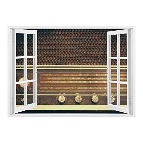 SCOCICI Wall Mural, Window Frame Mural/Vintage Decor,Old Antique Retro 60s Radio Music Player Loudspeakers Buttons Image,Brown and White/Wall Sticker Mural
