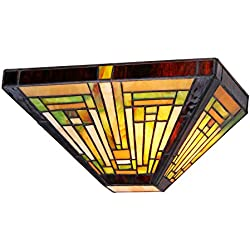 "Chloe Lighting CH33359MR12-WS1 Innes, Tiffany-Style 1 Light Mission Wall Sconce 12"" Wide 1"