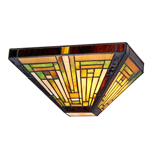 Chloe Lighting CH33359MR12-WS1 Innes, Tiffany-Style 1 Light Mission Wall Sconce 12