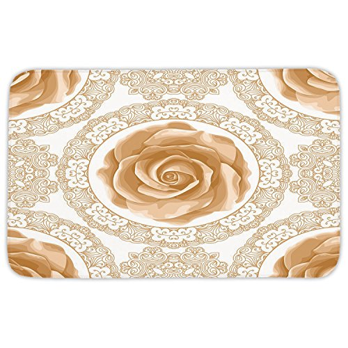 (Rectangular Area Rug Mat Rug,Floral,Rose Florets with Classic Golden Lace Authentic Feminine Retro Oriental Motif,Sand Brown White,Home Decor Mat with Non Slip Backing)