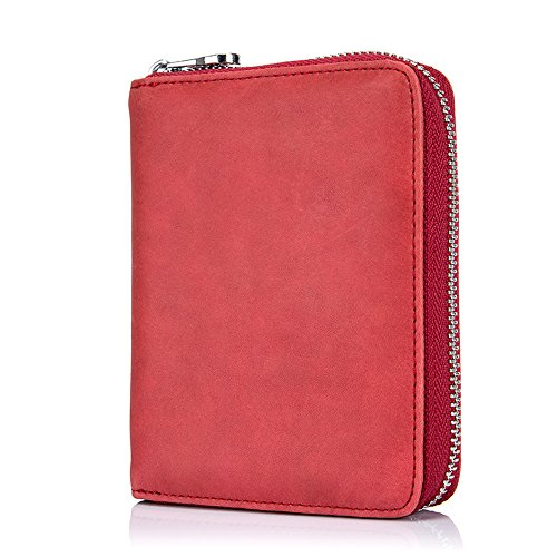 Boshiho RFID Blocking 24 Slot Credit Card Holder Wallet Real Leather Multi Card Organizer Wallet with Zipper (red)