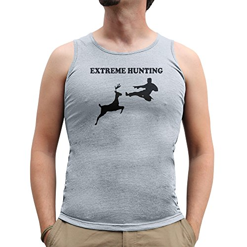 Nutees Mens Extreme Hunting Deer Martial Arts Funny Tank Top Vest Sports Grey XX-Large