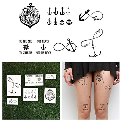 Tattify Anchor Themed Temporary Tattoos - Tall Ships (Complete Set of 12 Tattoos - 2 of each Style) - Individual Styles Available and Fashionable Temporary (Anchor Tattoos Women)