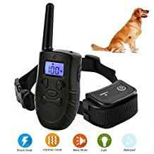 Training Collar with Remote 100% Waterproof Training Collar for Large Medium Small Dogs and Puppies, Beep/Vibration/Shock/Electric Shock Collar Dog Rechargeable Collar Upgrade Anti Bark collar 1000 ft