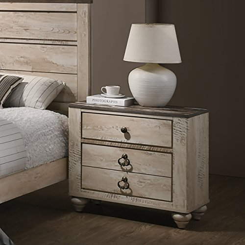 Roundhill Furniture B132N Imerland Contemporary 3 Drawer Patched Wood Top Nightstand, 29.8