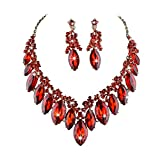 Youfir Star Luxurious Austria Crystal Rhinstone Necklace Earrings Set for Bridal Wedding Ceremony Events Dress(red)