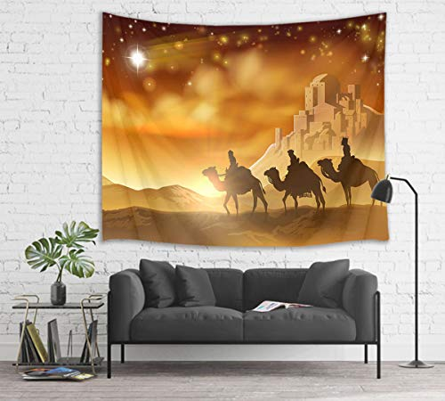 HVEST Nativity Scene Tapestry Bethlehem Star Leads Three Wise Men to Jesus Christ Birthplace Wall Hanging Blanket Merry Christmas Tapestries for Bedroom Living Room Dorm Decor,80Wx60H inches ()
